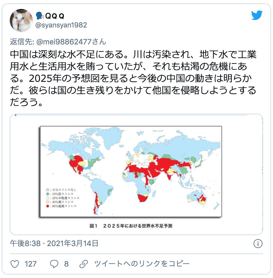 中国の水不足と他国への侵略