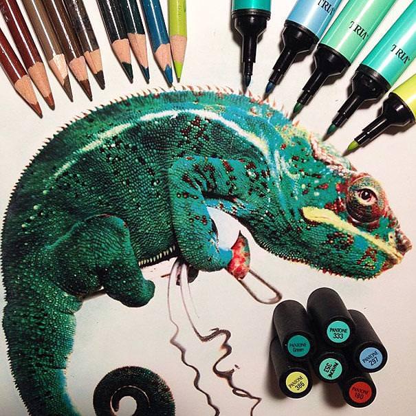 リアル絵の描き方:鮮やかなカメレオン