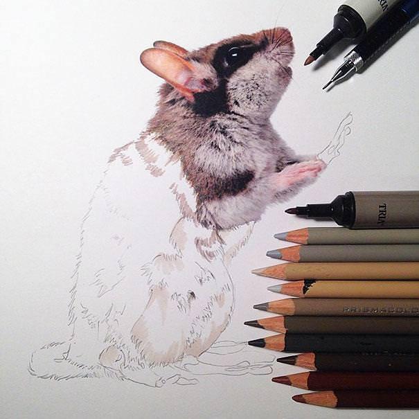リアル絵の描き方:今にも動きそうなハムスター
