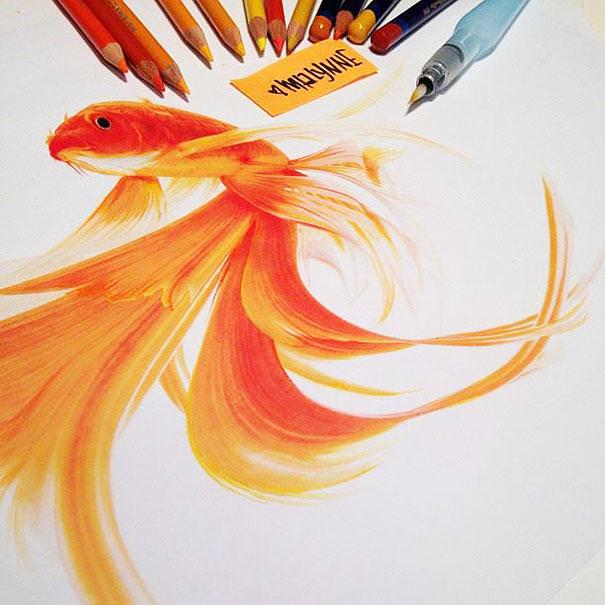 リアル絵の描き方:金魚