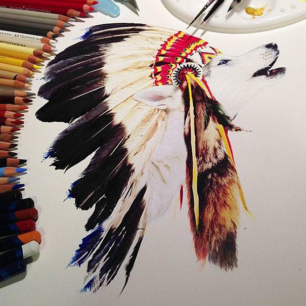 リアル絵の描き方:飾りを頭部にくっつけた犬