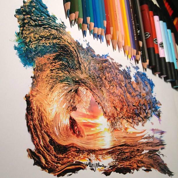 リアル絵の描き方:波と夕日