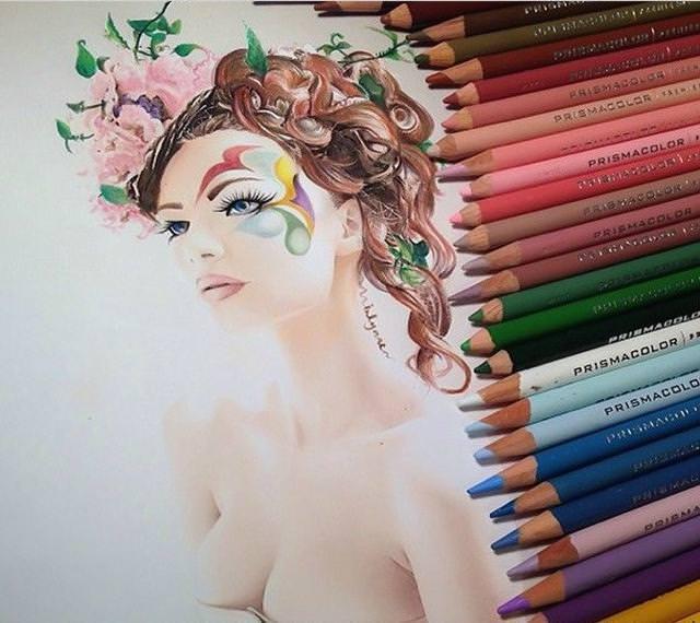 リアル絵の描き方:美しい花嫁
