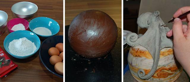 木星を巨大タコが侵食しているケーキの作り方