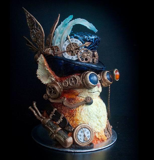 コンクールの優秀デザイン:シルクハットと色眼鏡を着用した、お洒落なネコ貴族のケーキ