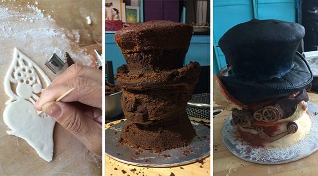 シルクハットと色眼鏡を着用した、お洒落なネコ貴族のケーキの作り方