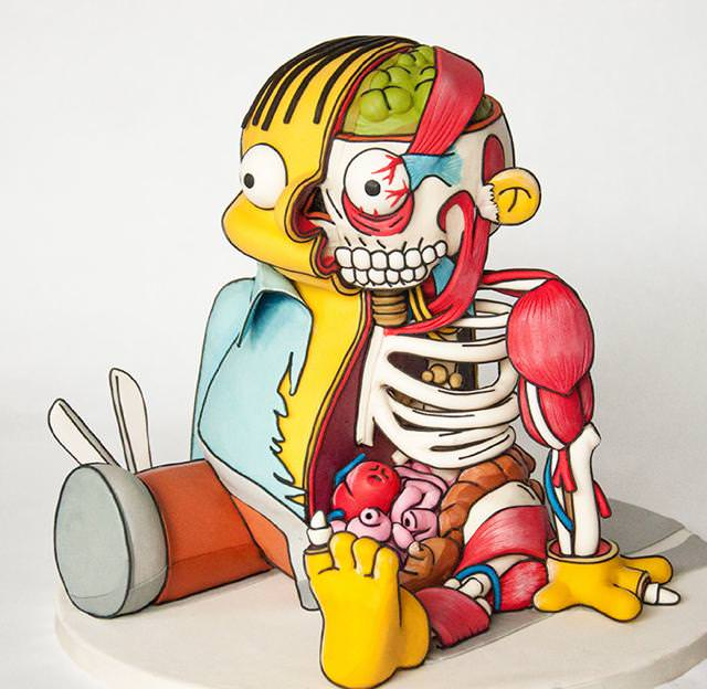 コンクールの優秀デザイン:人体模型のイラストのようなケーキ
