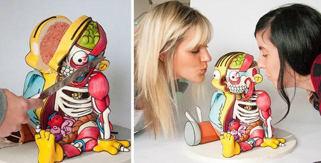 人体模型のイラストのようなケーキの作り方