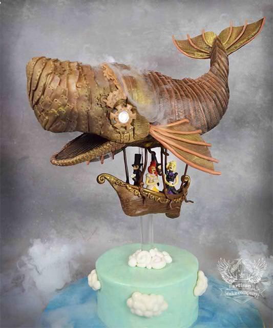 コンクールの優秀デザイン:クジラ型の飛行艇に乗って世界を旅する貴族たちのケーキ