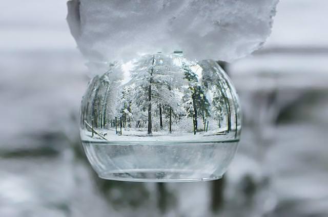 写真トリック:グラスの中の冬景色