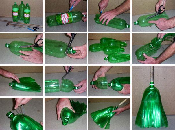 ペットボトル工作:汚れても水洗いが簡単にできるホウキ