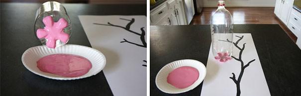 ペットボトル工作:ペットボトル底を利用した桜の花びらスタンプ