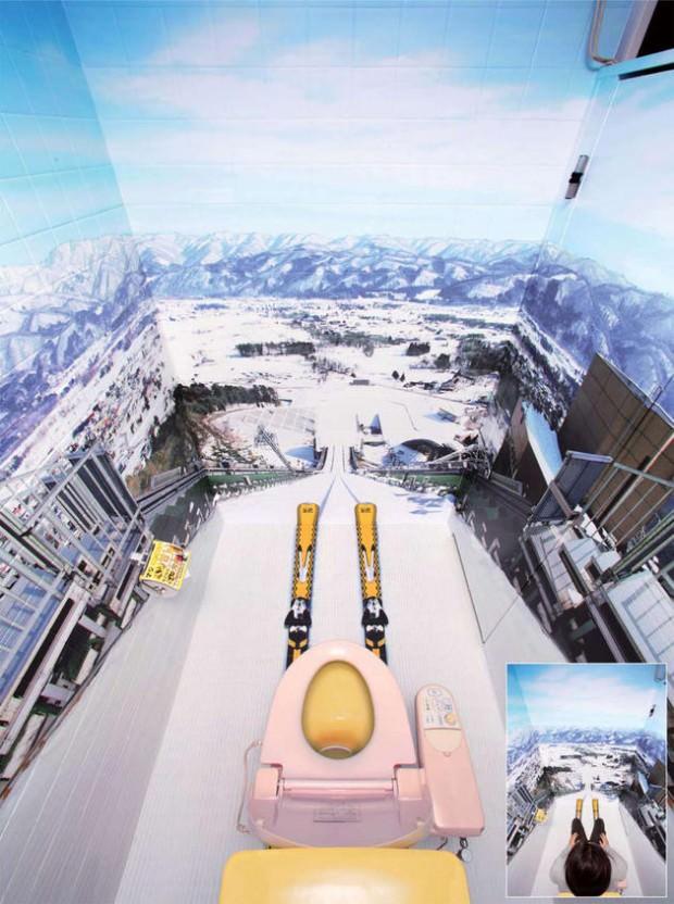 面白トイレ:スキージャンプ台の上に設置?