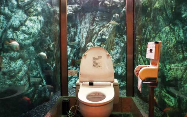 周囲を水槽で囲まれている面白トイレ