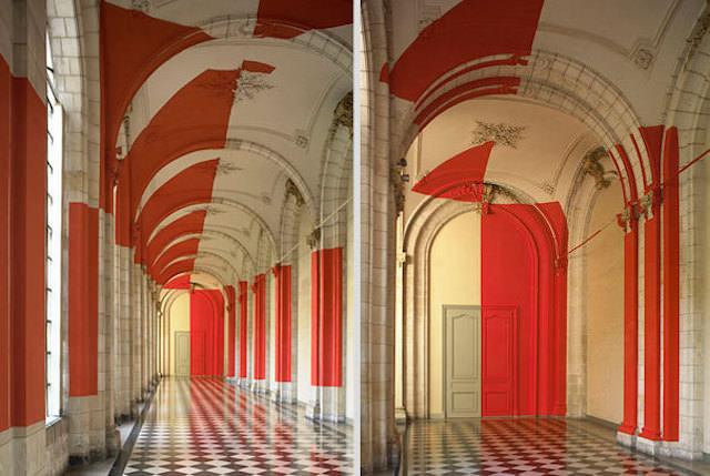 アナモフィックアート8:宮殿の中に浮かび上がる市松模様