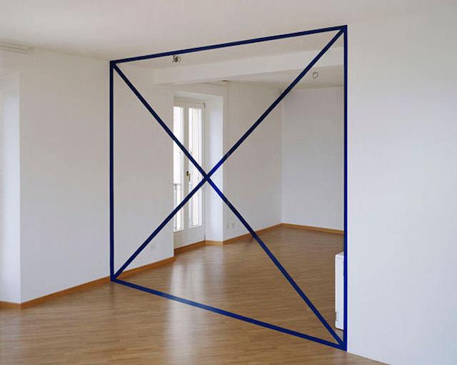 アナモフィックアート14:部屋の真ん中に浮かび上がる仕切り
