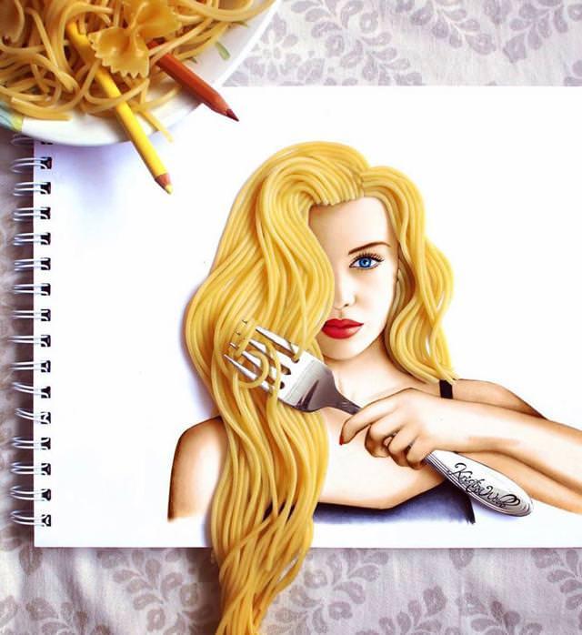美女たちのコラボ:スパゲティで美しい金髪