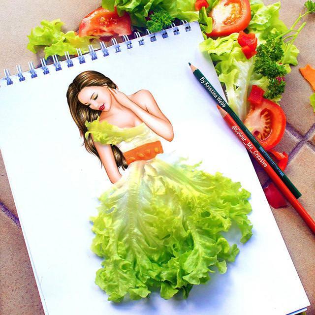 美女たちのコラボ:野菜のドレス