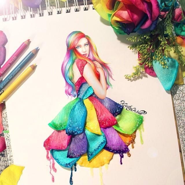 美女たちのコラボ:色鮮やかな花びらドレス