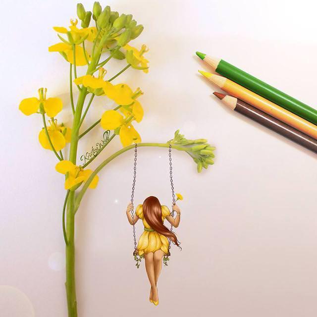美女たちのコラボ:花のブランコ