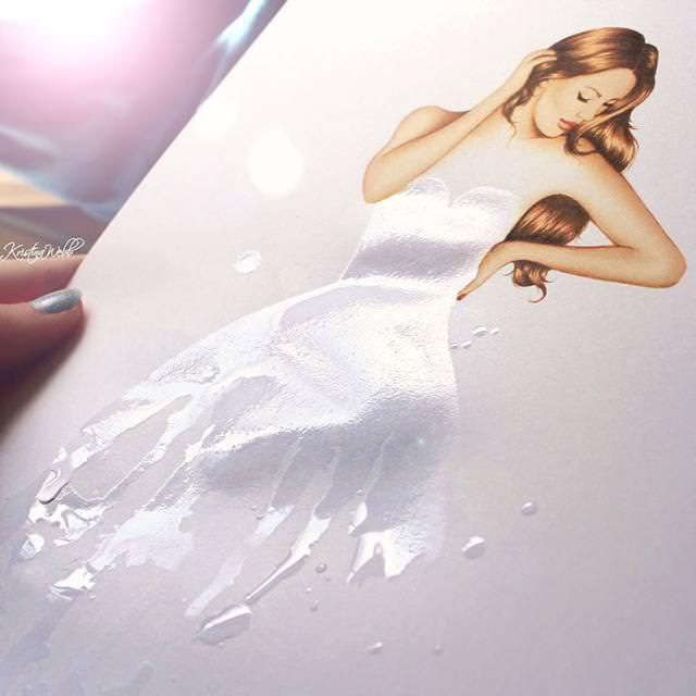 美女たちのコラボ:水で形作られたドレス