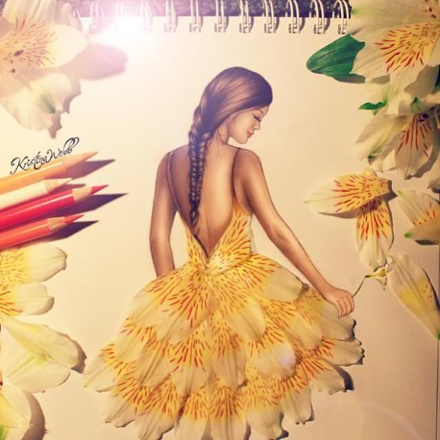 美女たちのコラボ:白い花びらドレス