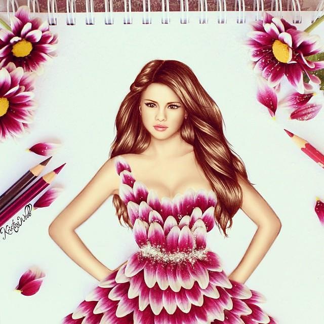 美女たちのコラボ:紫の花びらドレス