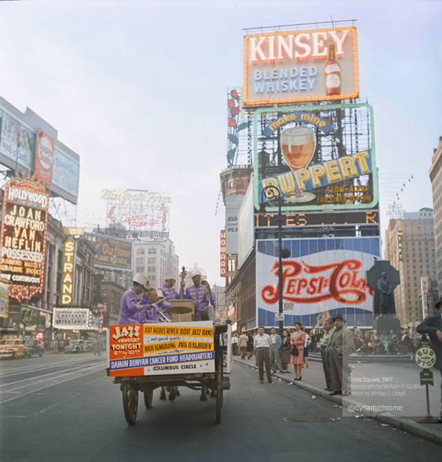 カラー化:ニューヨークのタイムズ・スクエア(1947年)