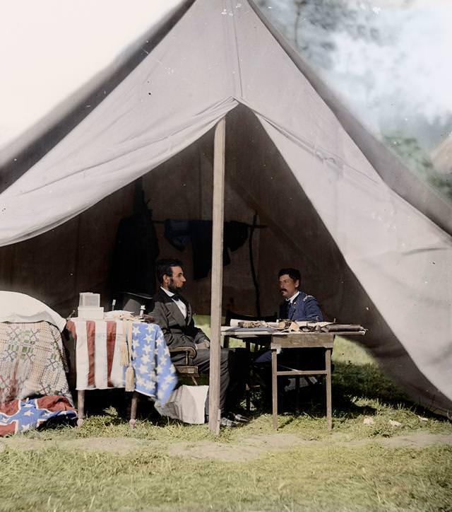 カラー化:リンカーン大統領とマクレラン将軍(1862年)