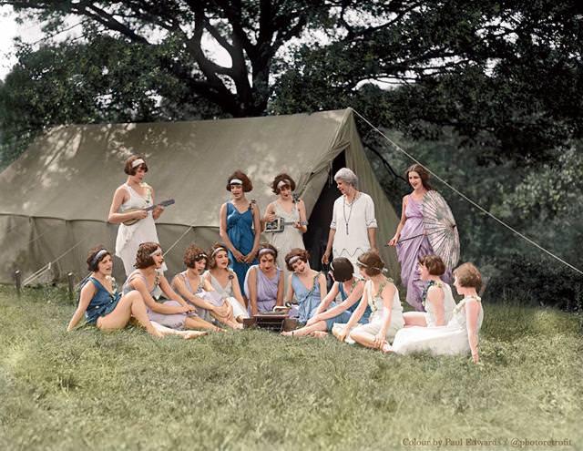 カラー化:ナショナル・アメリカン・バレエのダンサーたち(1924年)