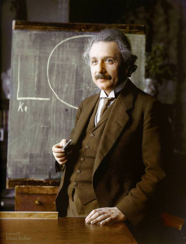 カラー化:アルバート・アインシュタイン博士(1921年)
