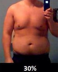体脂肪率30%の男性