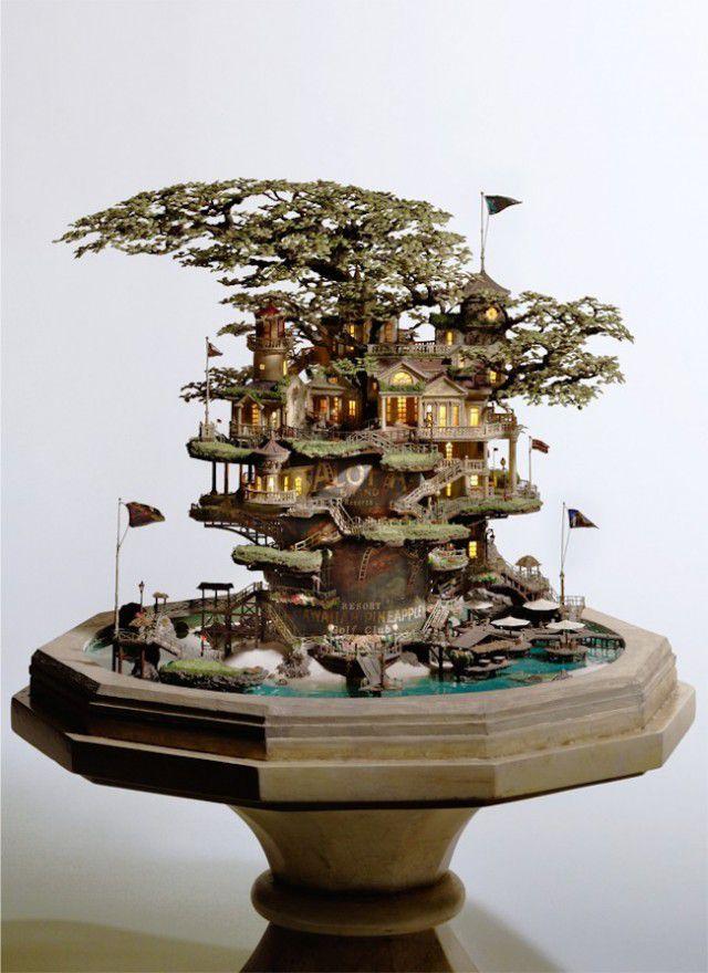 盆栽アート:日本庭園の豪邸