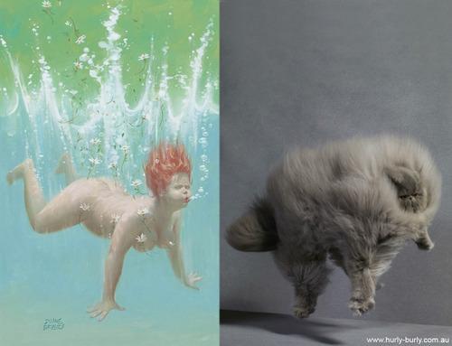 動物とそっくりな画像:水に飛び込んだニャ〜