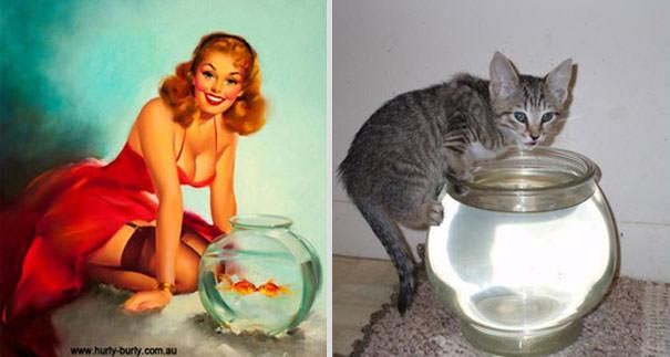 動物とそっくりな画像:水槽の中を覗きこんでいるんだニャ〜