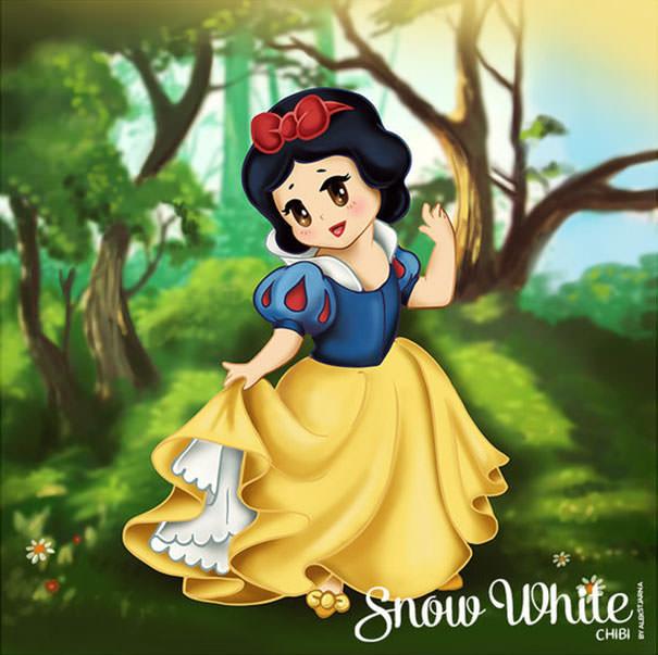 白雪姫の二頭身キャラ