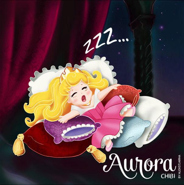 オーロラ姫の二頭身キャラ