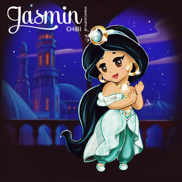 ジャスミン姫(アラジン)の二頭身キャラ