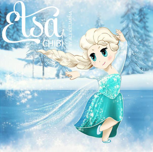 エルサ(アナと雪の女王)の二頭身キャラ