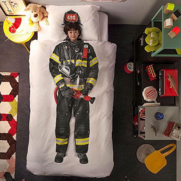 お洒落なデザインの枕カバー&ベッドカバー:消防士