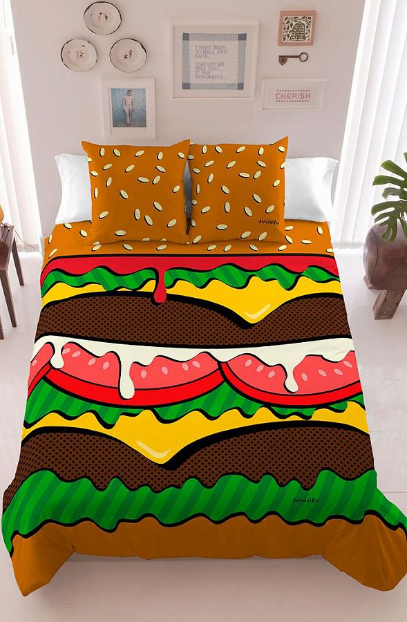 お洒落なデザインの枕カバー&ベッドカバー:ハンバーガー柄
