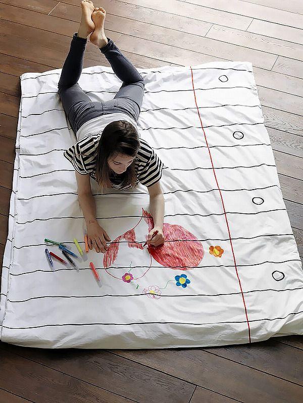 お絵かき可能な枕カバー&ベッドカバー