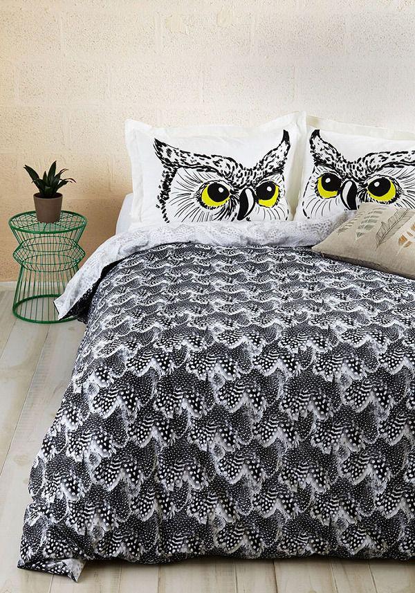 お洒落なデザインの枕カバー&ベッドカバー:フクロウ柄