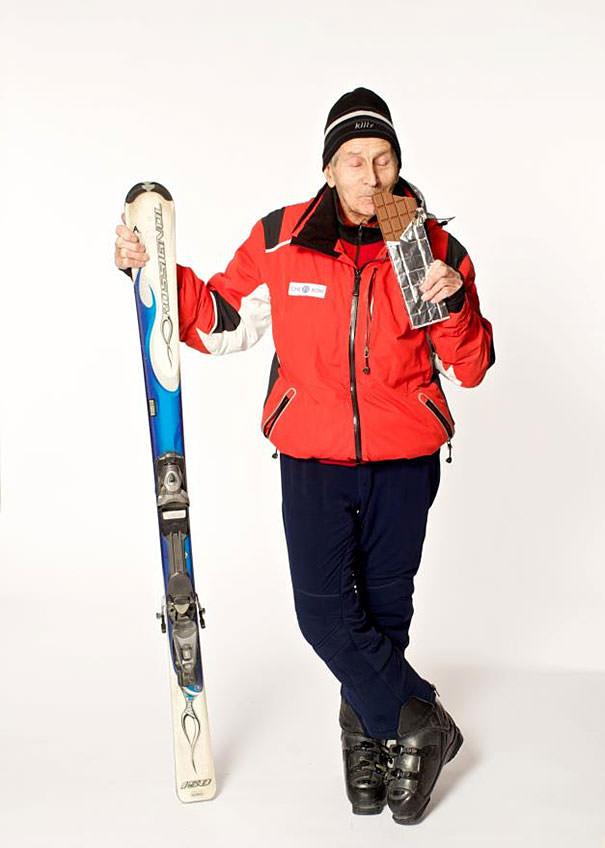 かっこいい老人:96歳の山岳スキーヤー