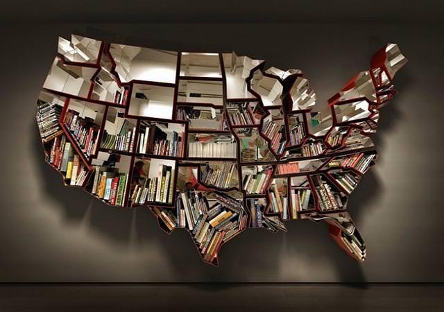 お洒落なデザインの本棚:アメリカ合衆国の50州