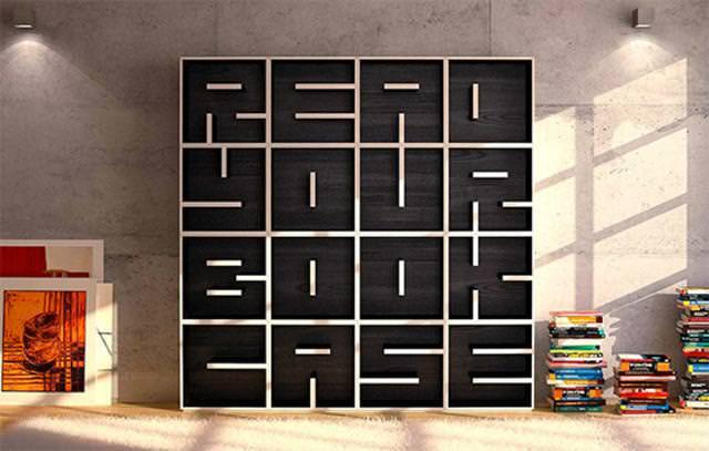 お洒落なデザインの本棚:アルファベットで英文を作れる