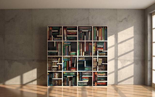 お洒落なデザインの本棚:アルファベットで文章を作れる本棚