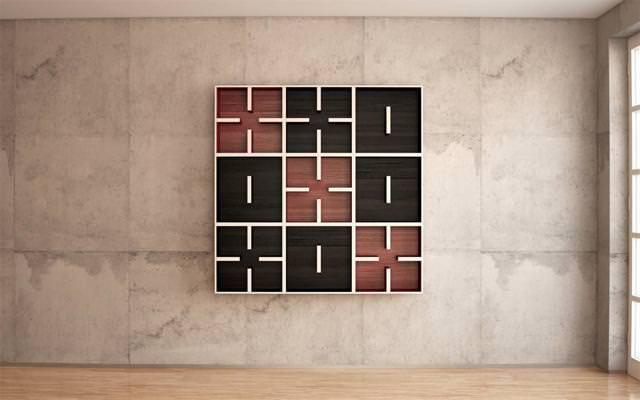 お洒落なデザインの本棚:本棚で3x3の○×ゲーム