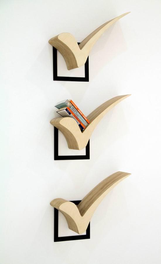 お洒落なデザインの本棚:チェックマーク
