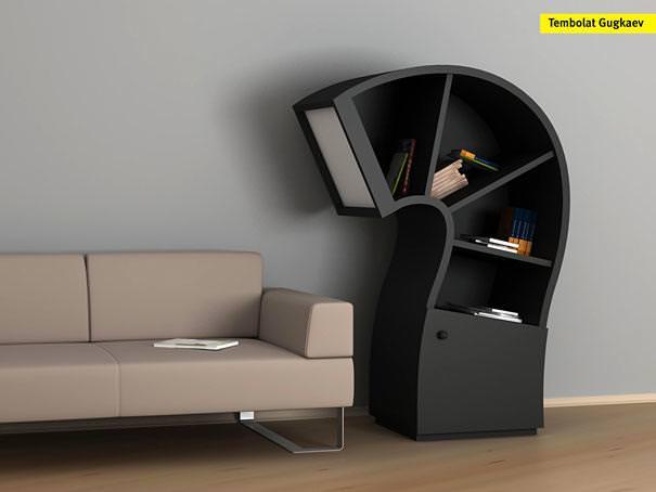 お洒落なデザインの本棚:クエスチョンマーク